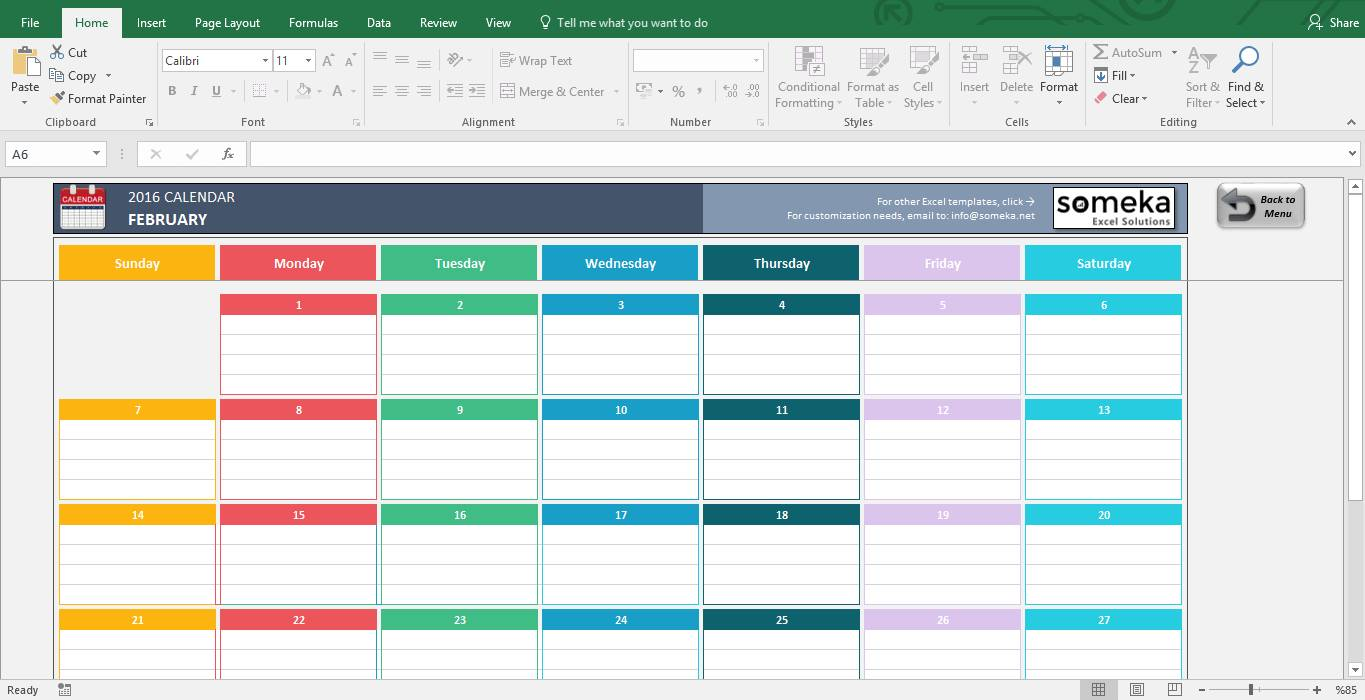 Monthly Calendar Excel Template