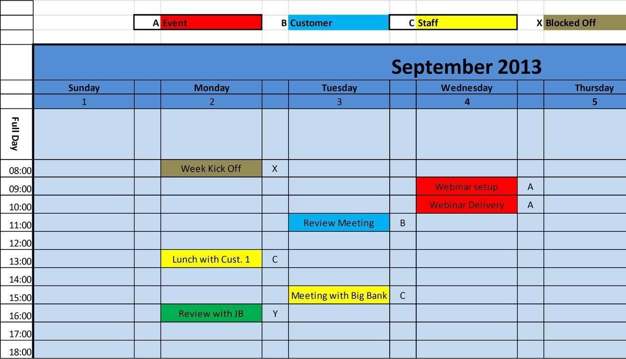 Monthly Calendar Schedule Template Excel