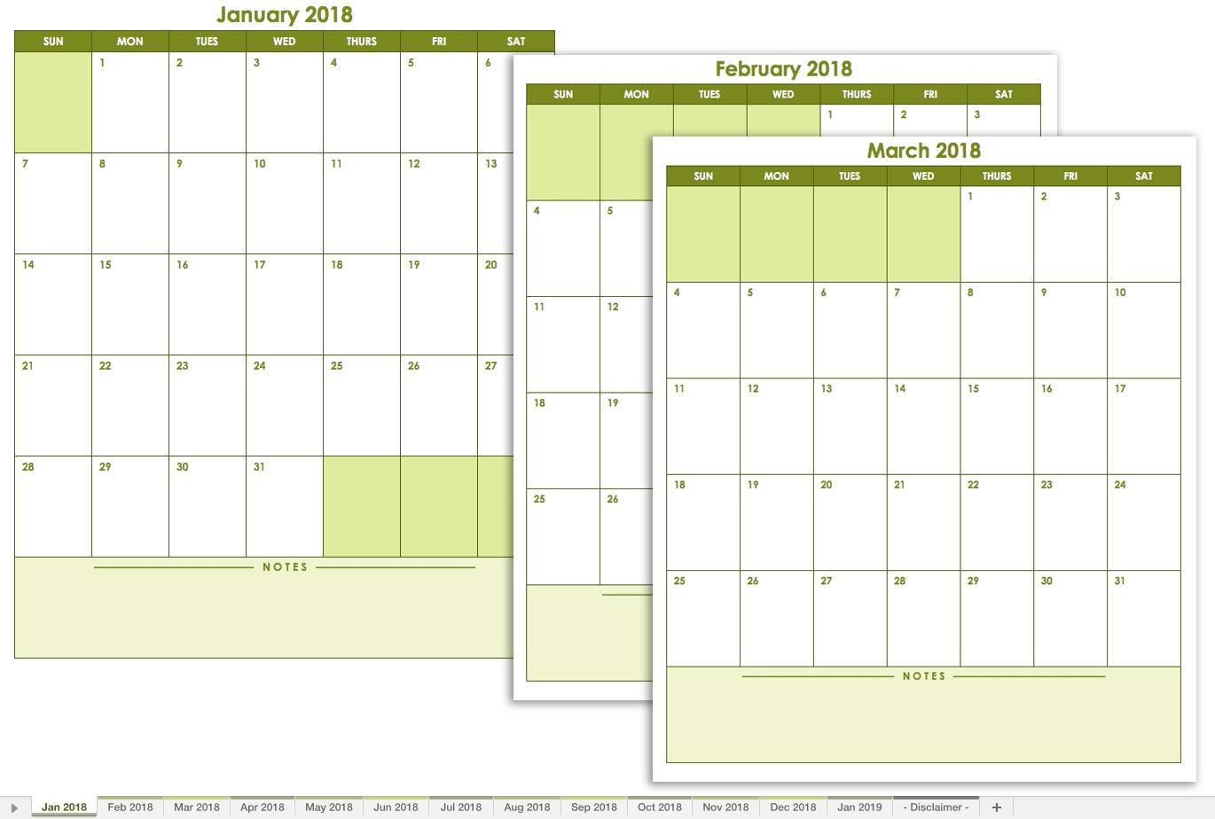 Monthly Calendar Spreadsheet Template