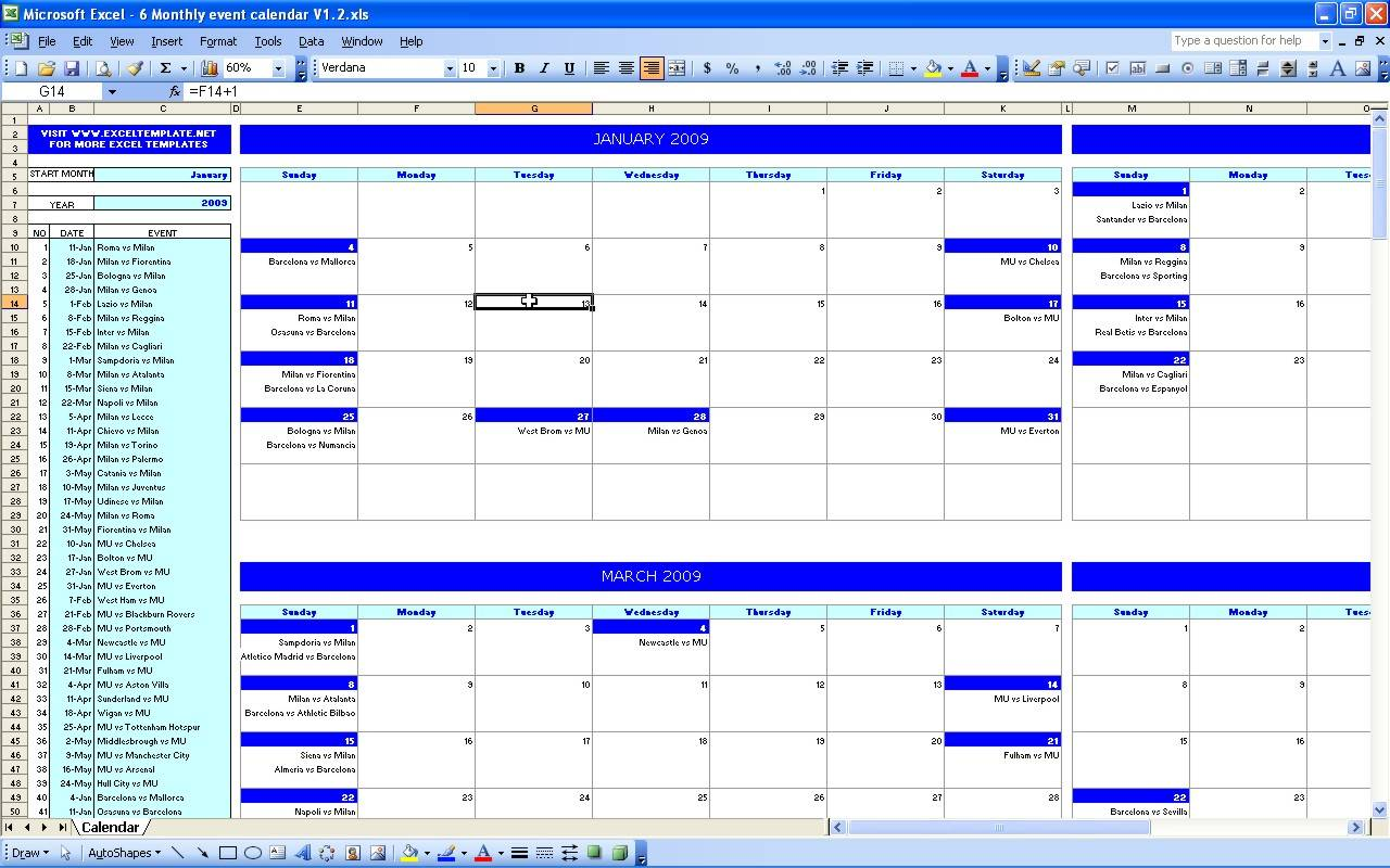 Monthly Calendar Template Excel