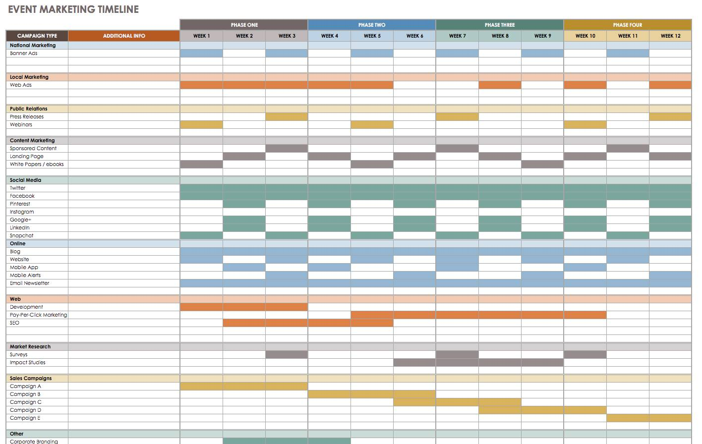 Monthly Calendar Timeline Template