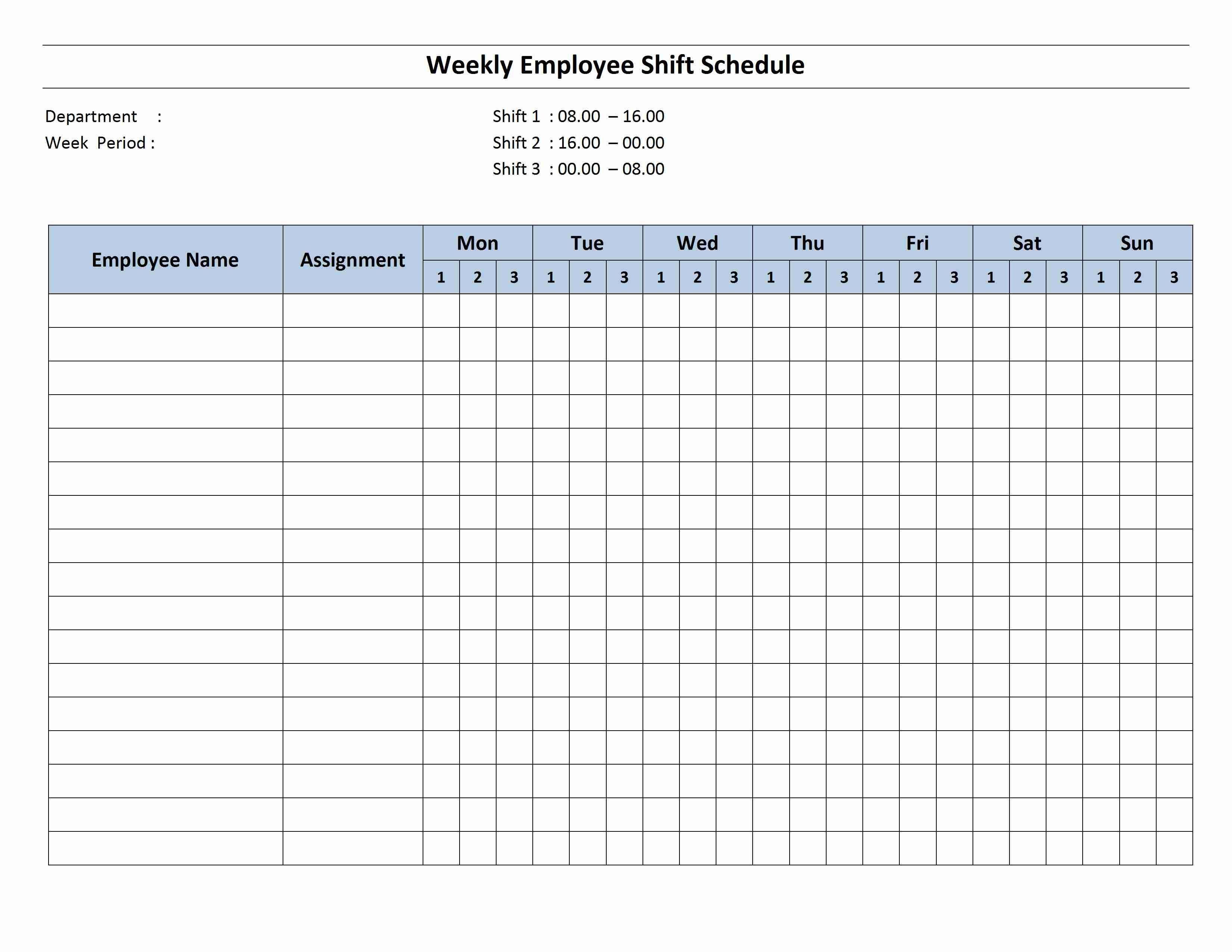 Monthly Calendar Work Schedule Template