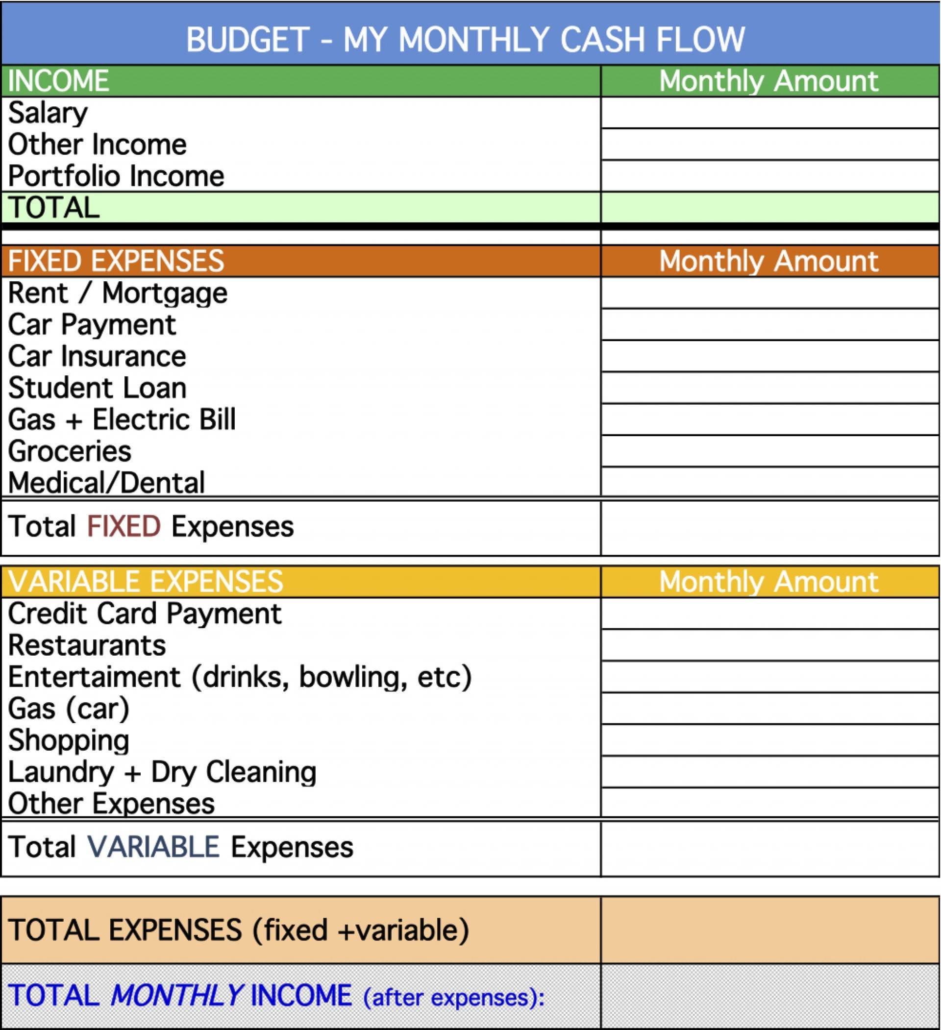 Monthly Cash Flow Statement Template