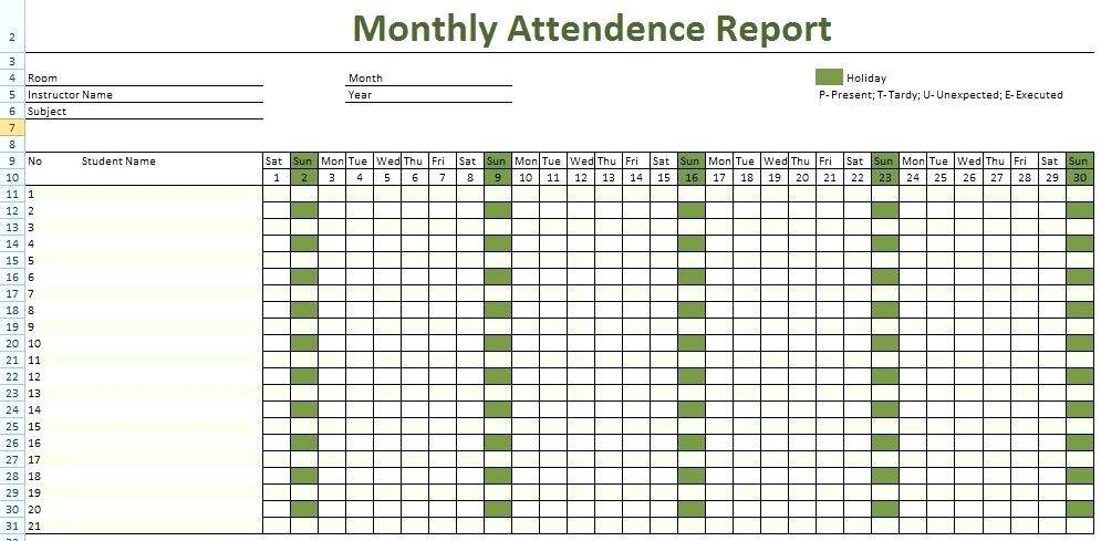 Monthly Employee Attendance Record Template