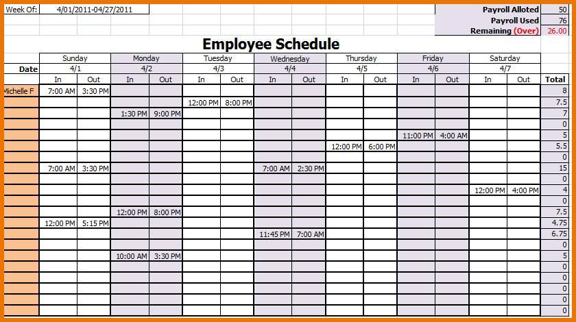 Monthly Employee Schedule Calendar Template
