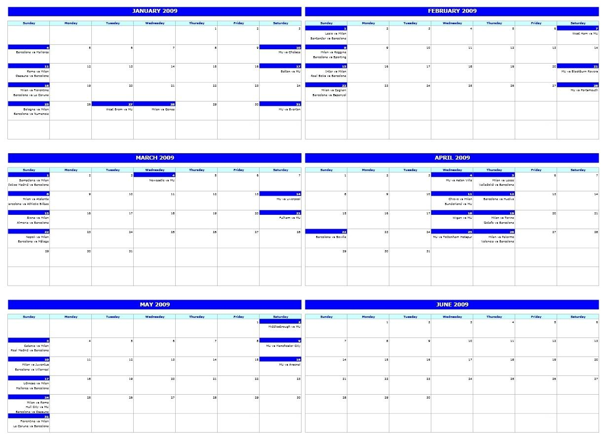 Monthly Event Calendar Template Excel