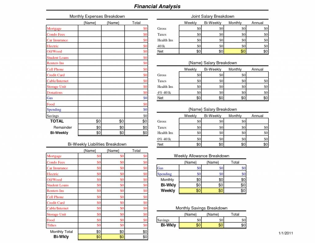 Monthly Household Budget Spreadsheet Template
