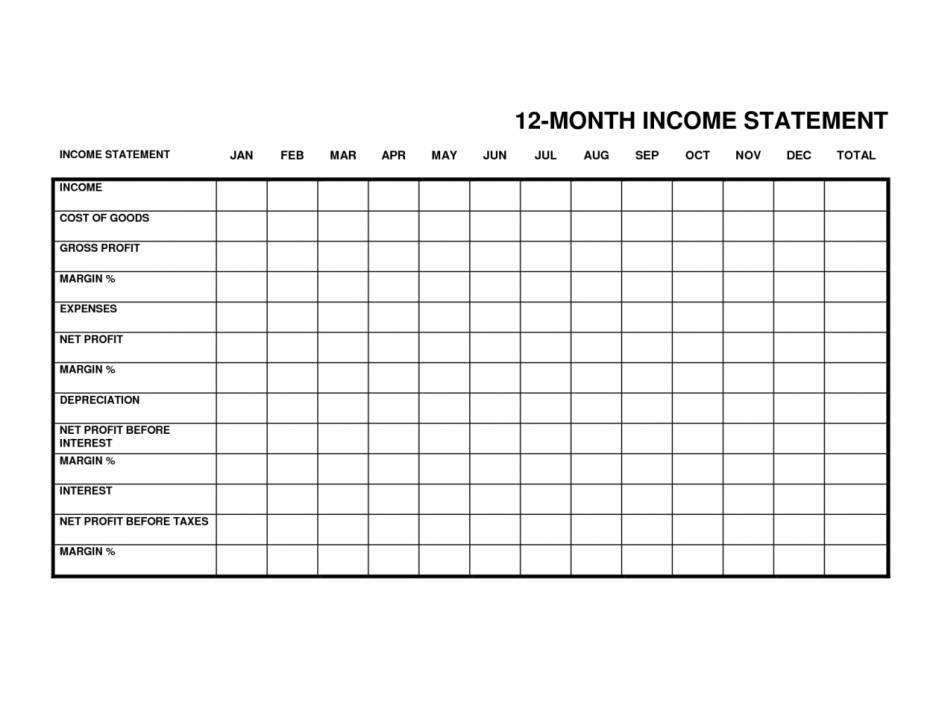 Monthly Income Expense Statement Template