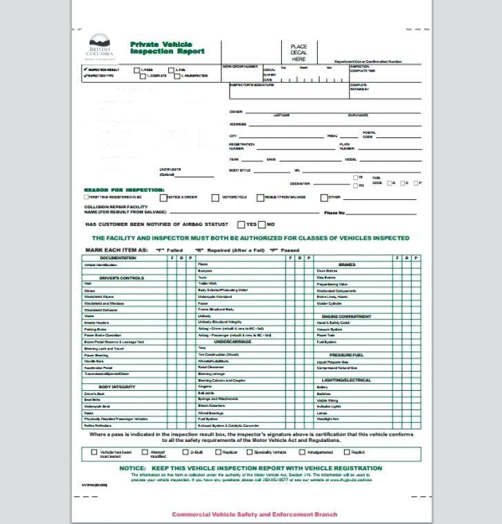 Monthly Inspection Tag Template