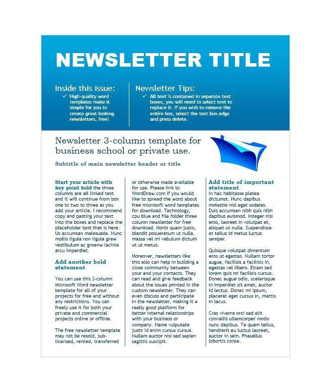Monthly Newsletter Templates Free Download