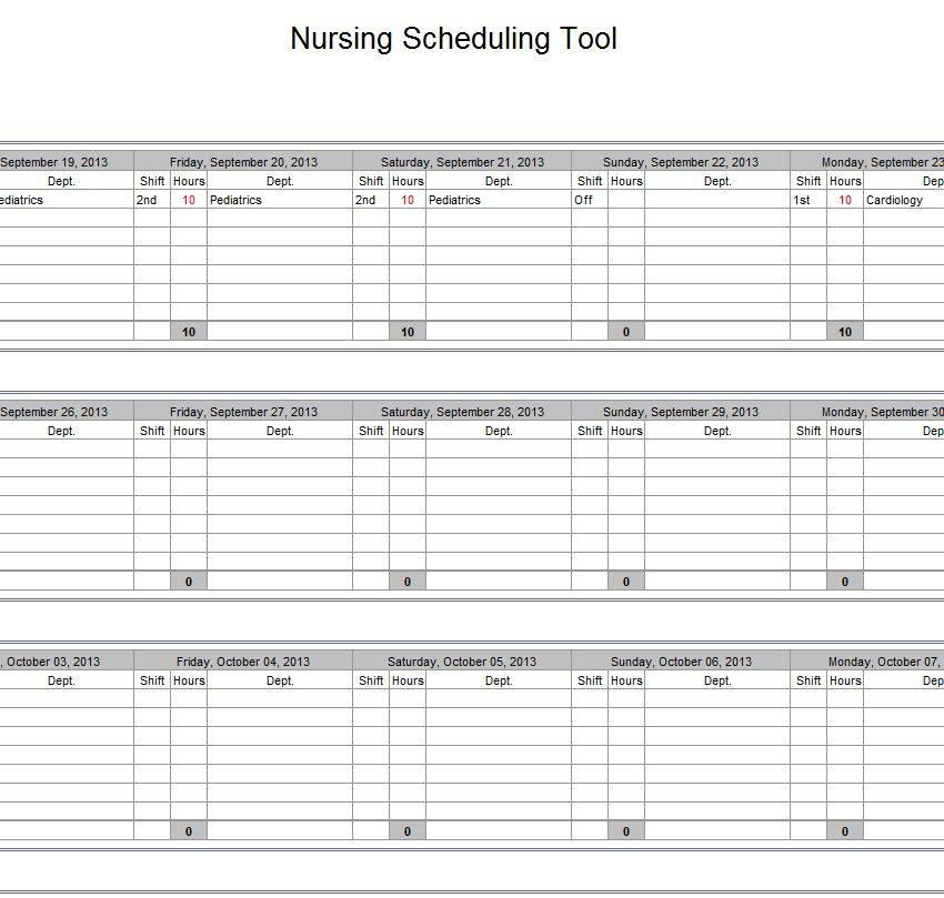 Monthly Nursing Schedule Template