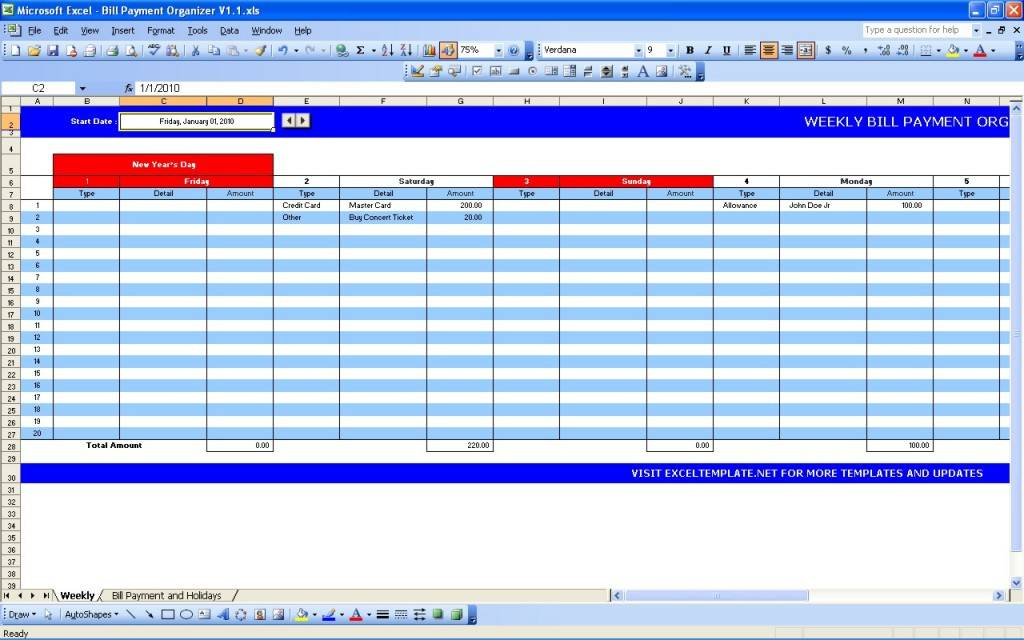Monthly Payment Schedule Excel Template