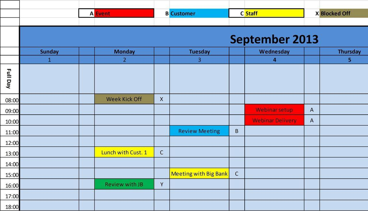 Monthly Planner Template Excel