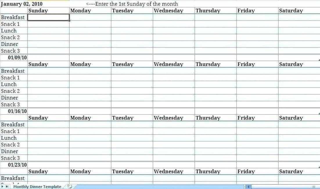Monthly Planning Calendar Template Excel