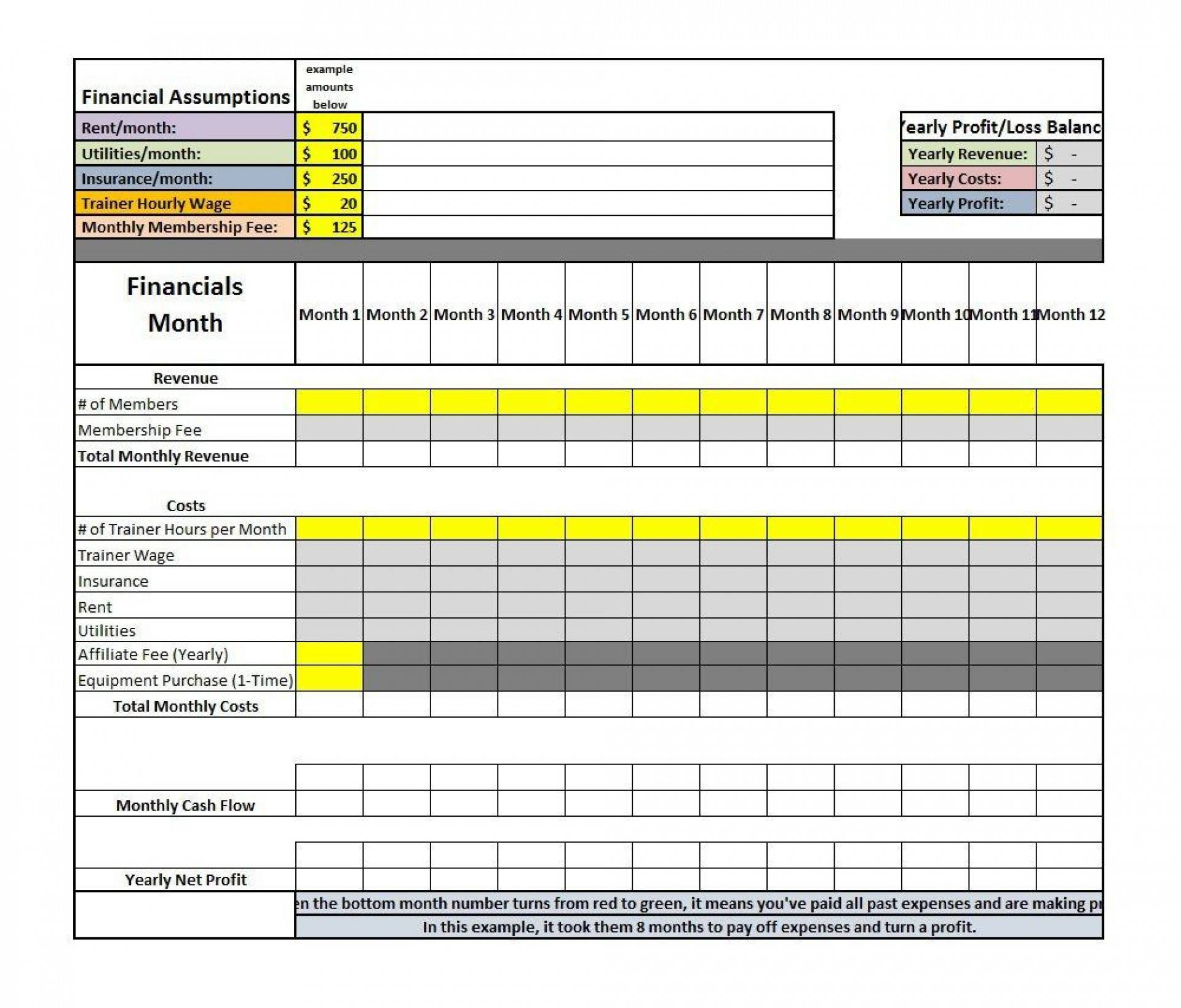 Monthly Profit And Loss Template Uk
