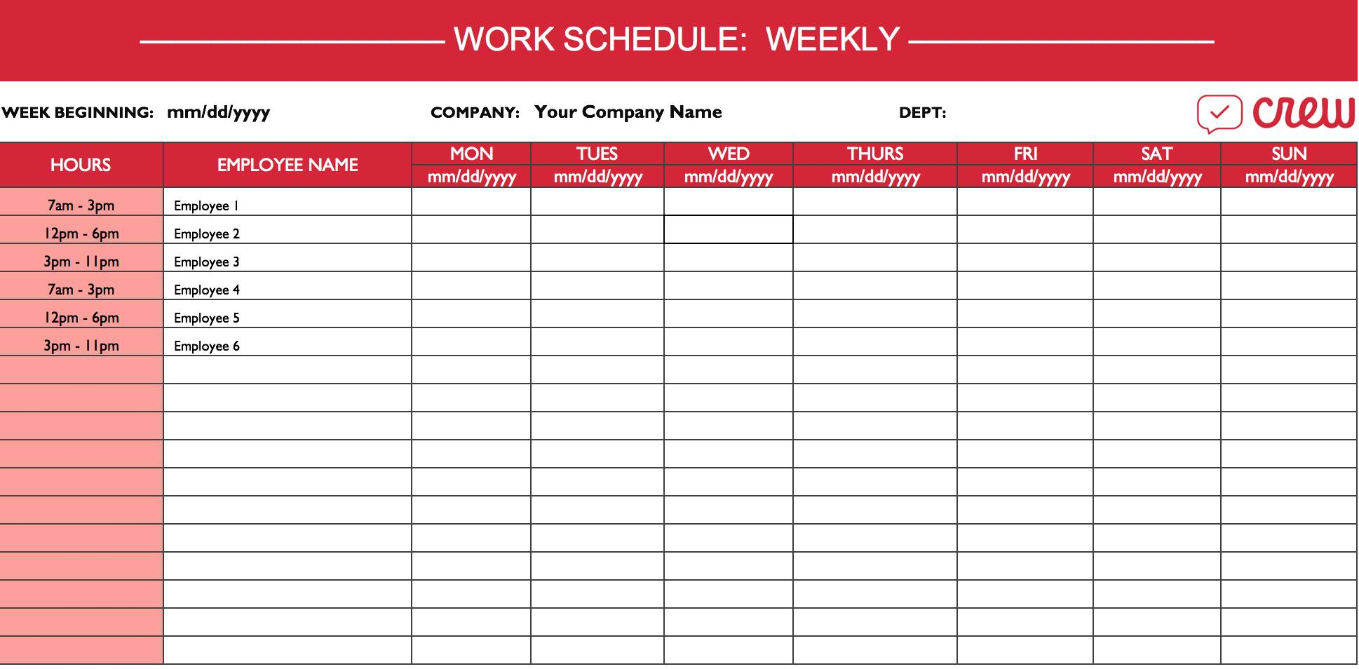 Monthly Shift Schedule Calendar Template
