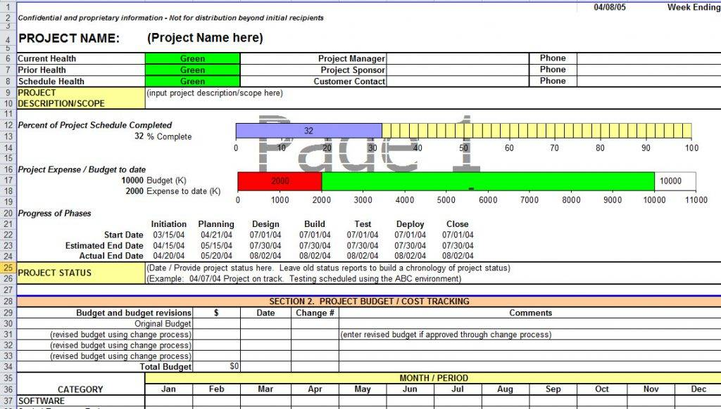 Monthly Status Report Template Excel