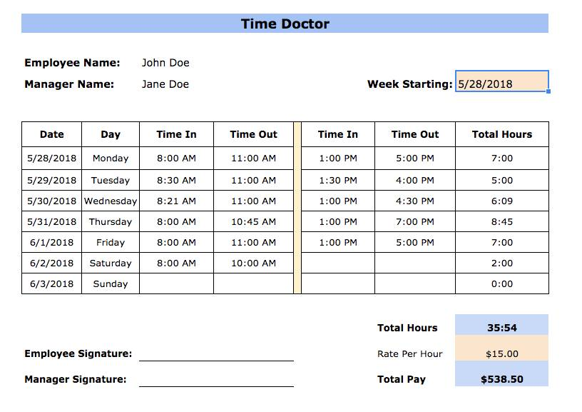 Monthly Timesheet Templates