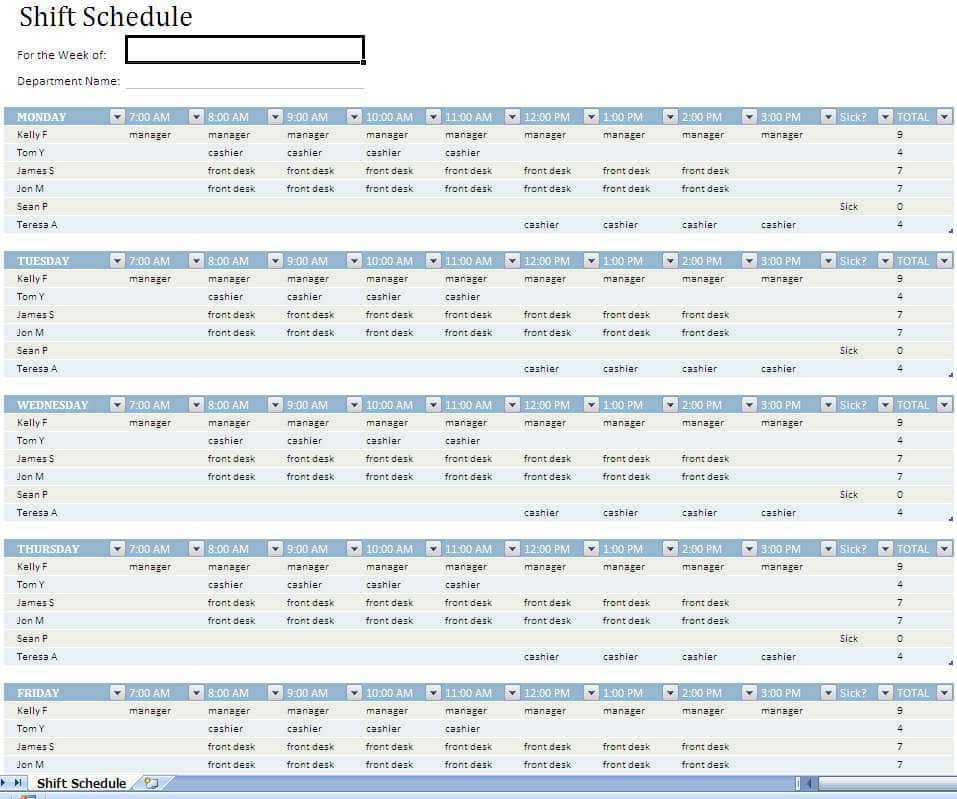 Monthly Work Schedule Template For Excel