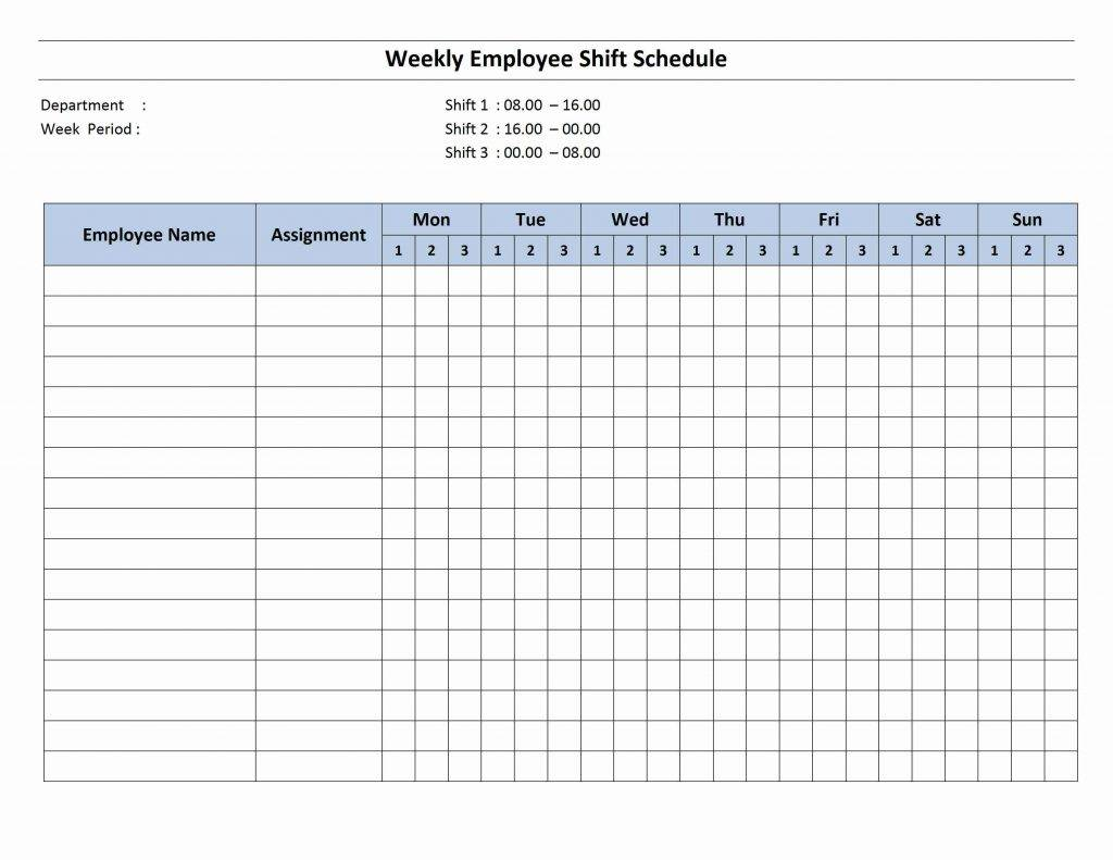 Monthly Work Schedule Template Free Download
