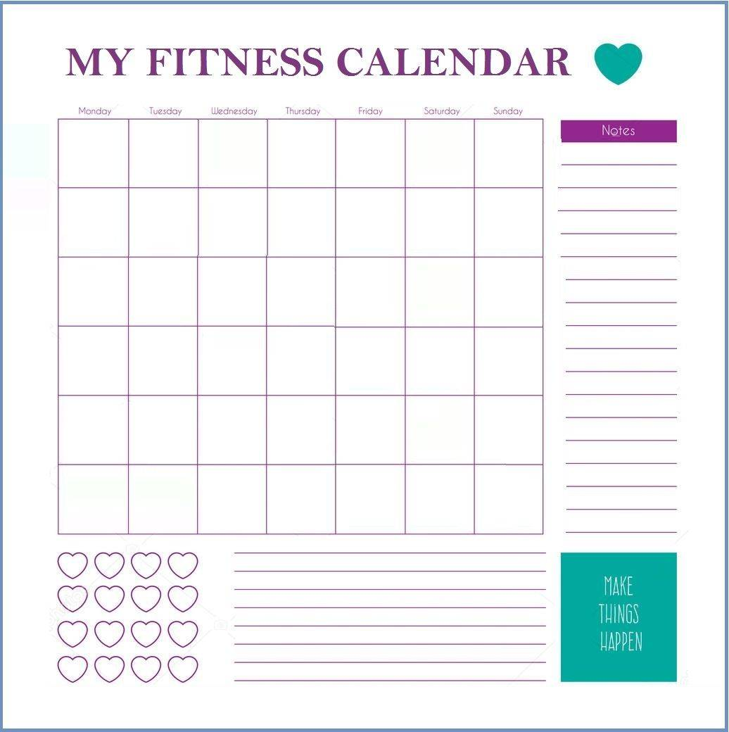 Monthly Workout Calendar Template