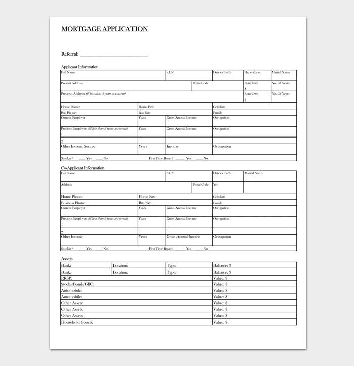 Mortgage Application Template