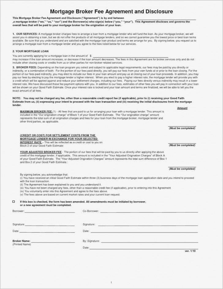 Mortgage Broker Fee Agreement Template