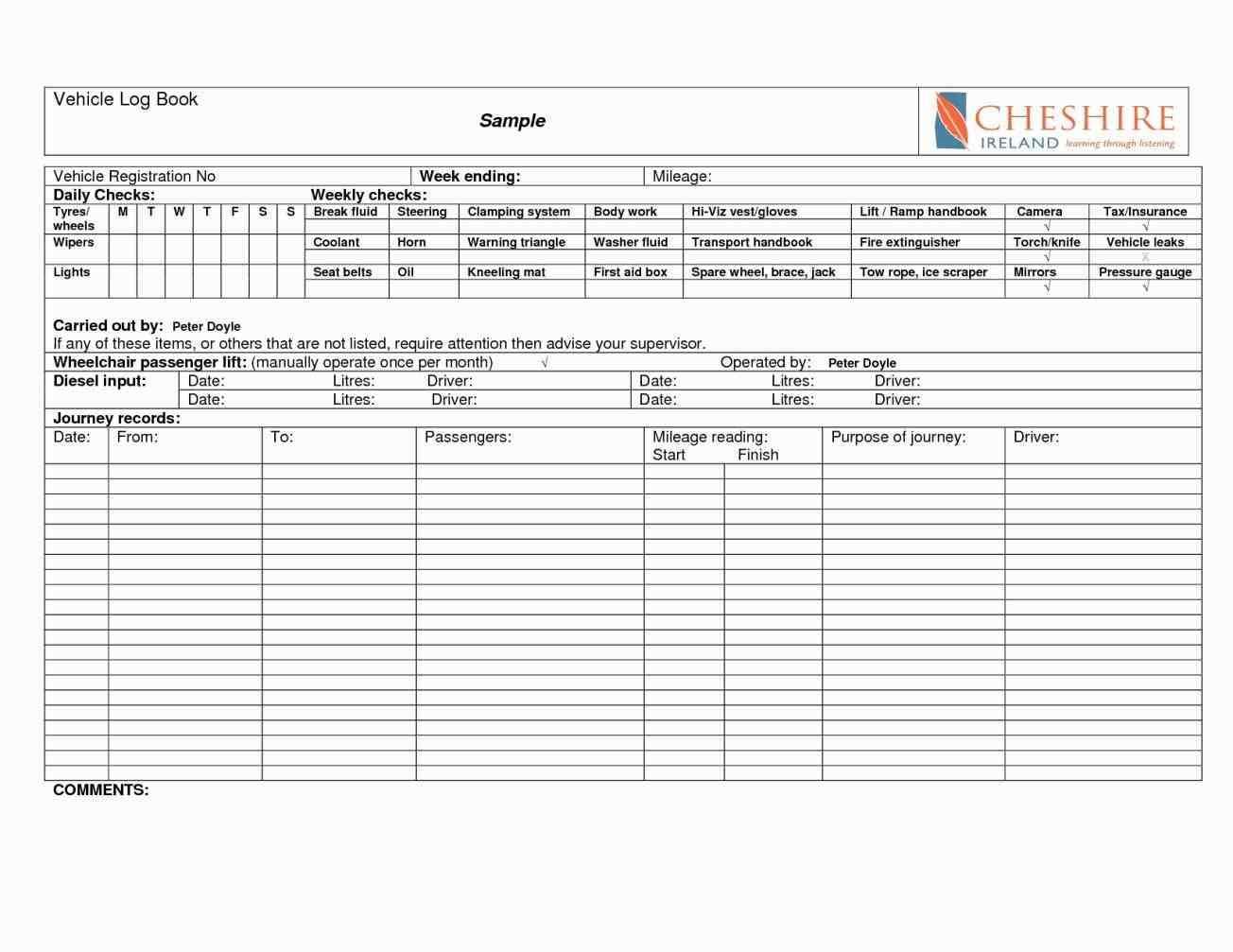 Motor Vehicle Log Book Format
