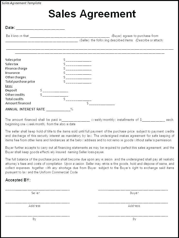 Motor Vehicle Sales Agreement Template