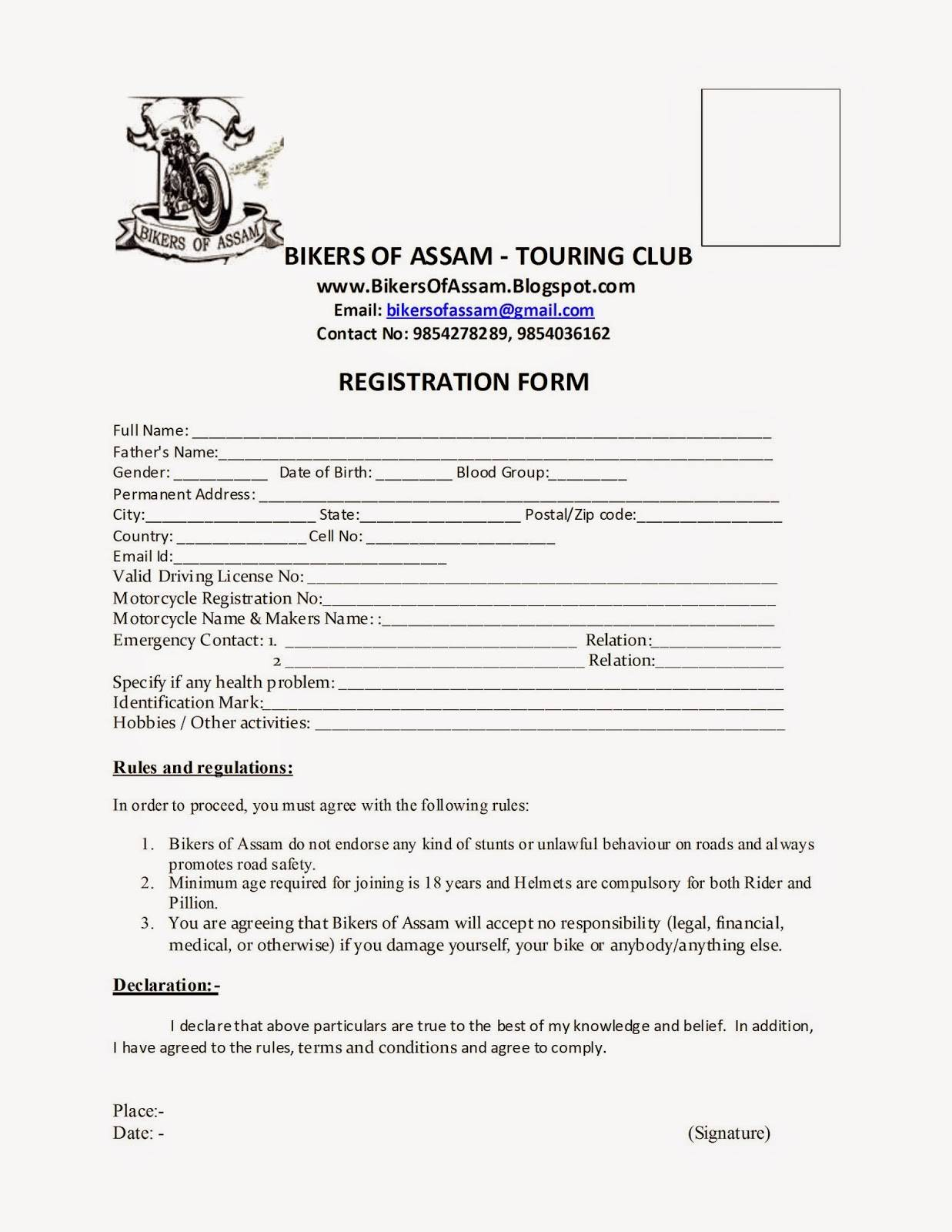 Motorcycle Club Membership Application Form Template