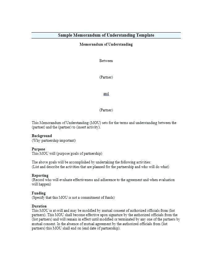 Mou Partnership Agreement Template