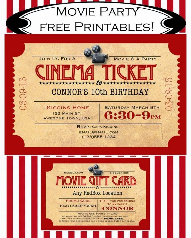 Movie Night Invitation Template Free Printable