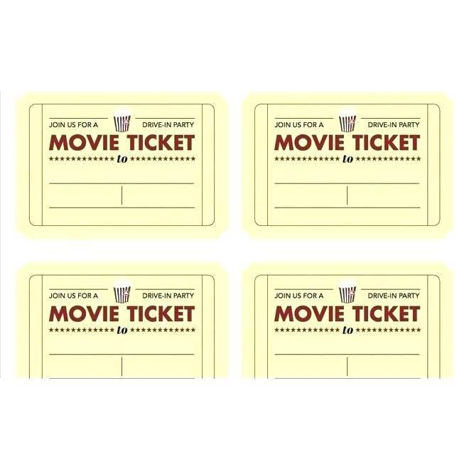Movie Ticket Invitations Printable
