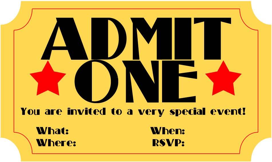 Movie Ticket Stub Invitation Template
