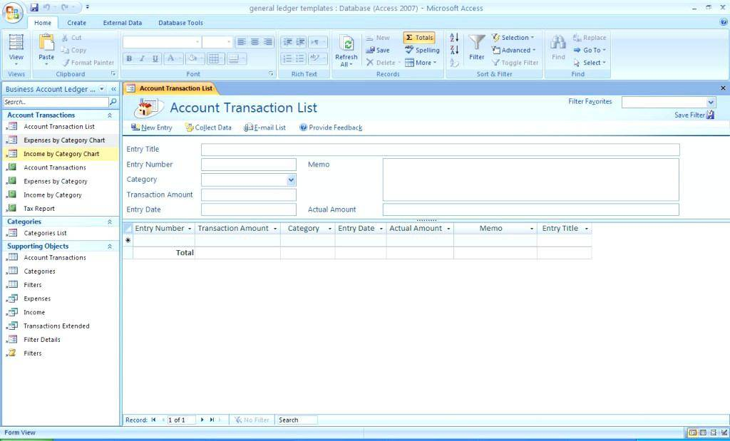 Ms Access 2007 Accounting Templates