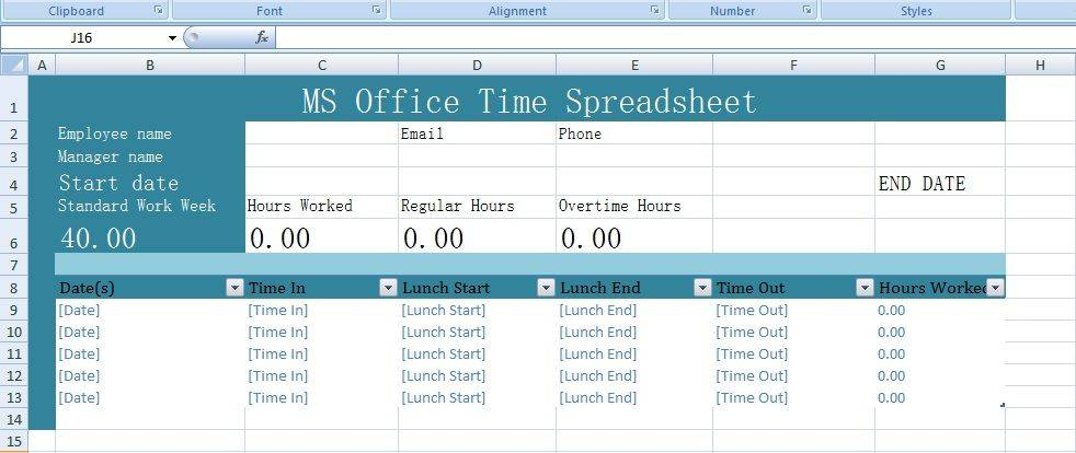 Ms Spreadsheet Templates