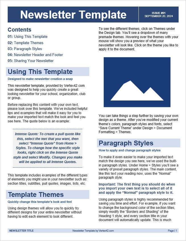 Ms Word 2007 Newsletter Templates Free Download