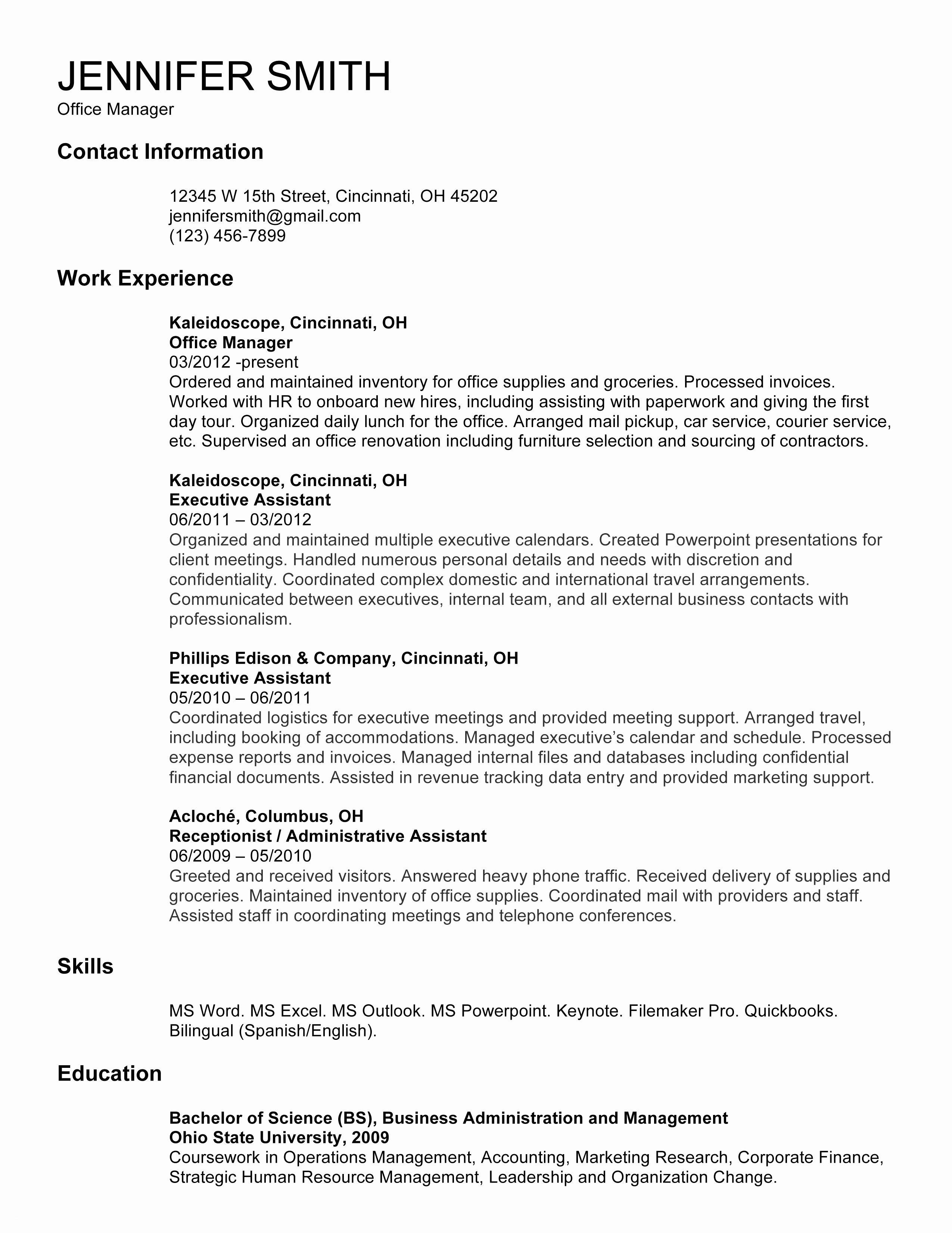 Ms Word Executive Resume Template