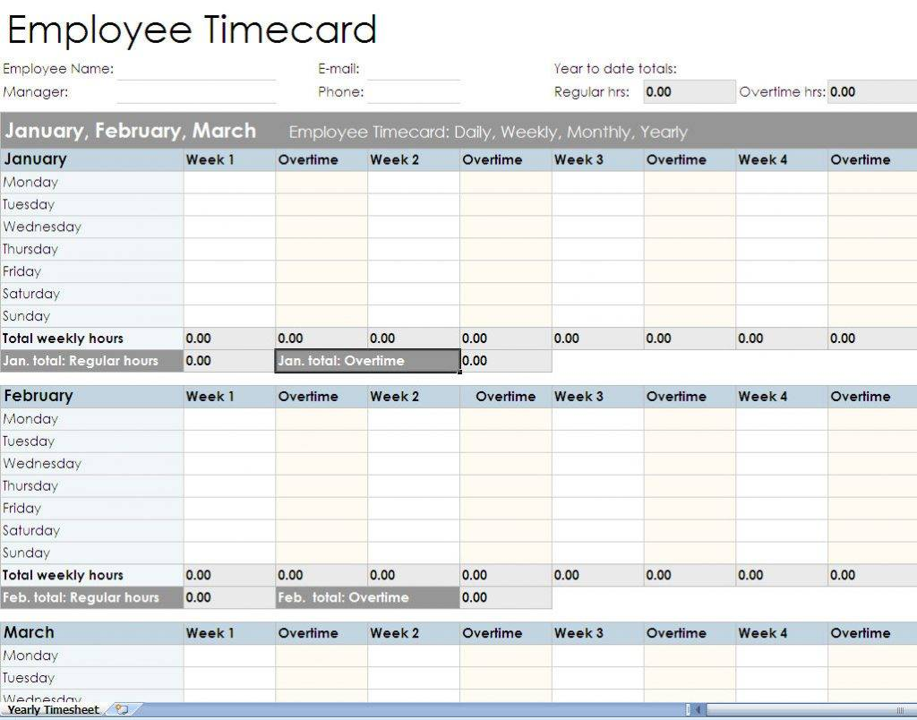 Multiple Employee Monthly Timesheet Template Excel