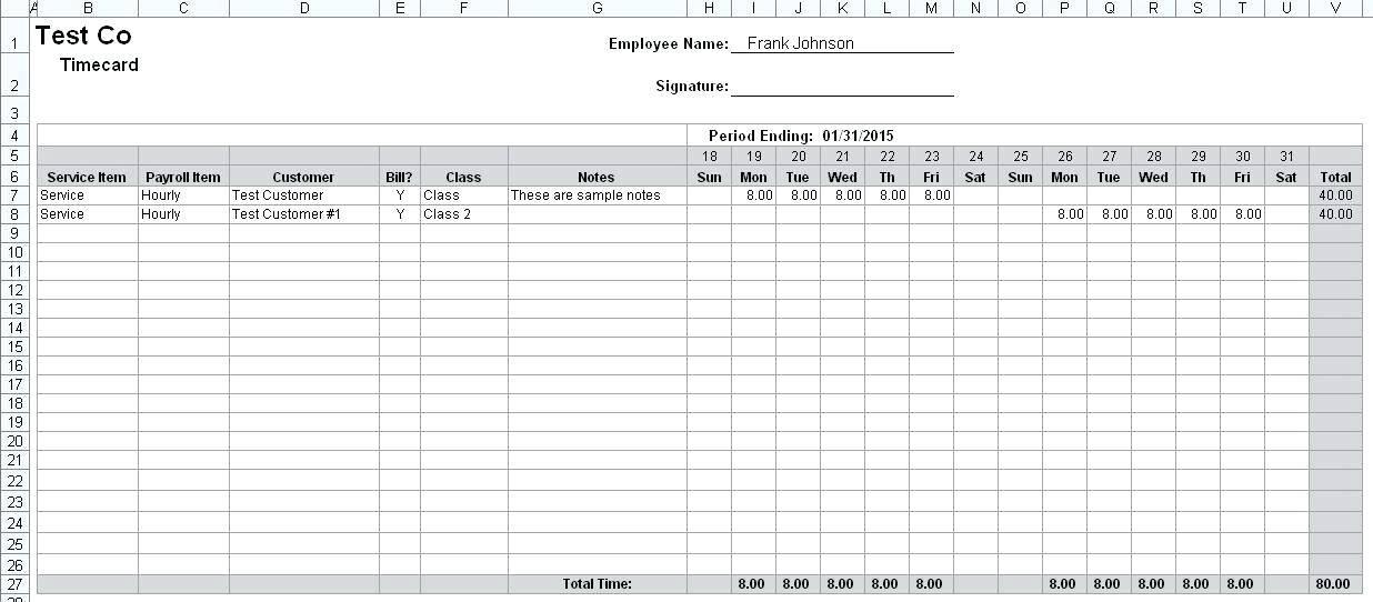 Multiple Employee Monthly Timesheet Template
