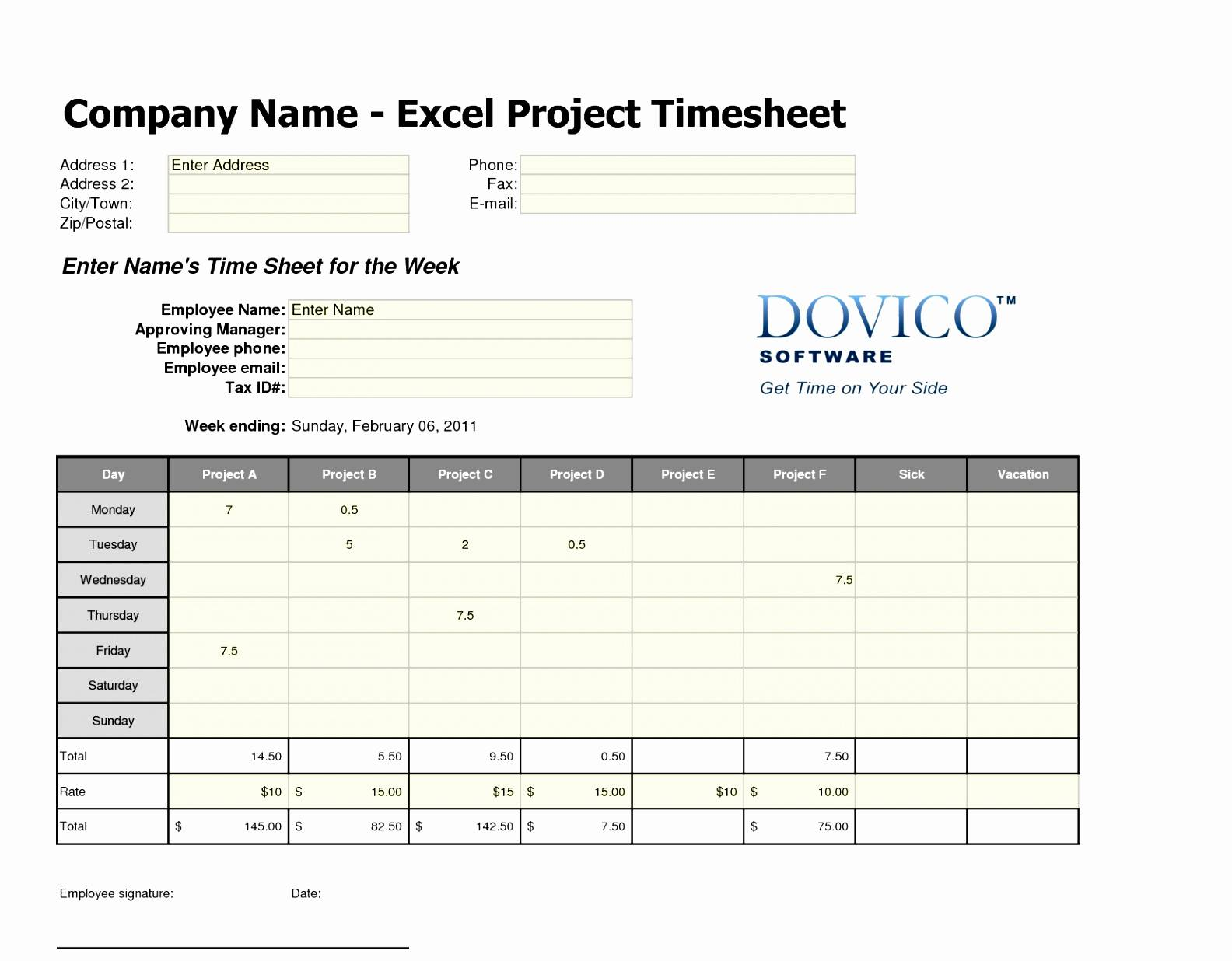Multiple Job Timesheet Template