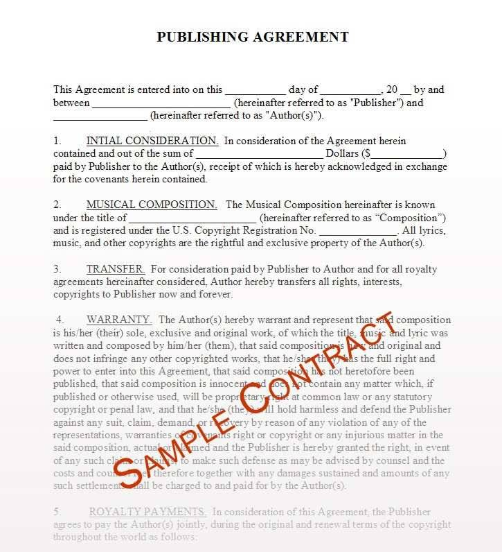 Music Publishing Contract Examples
