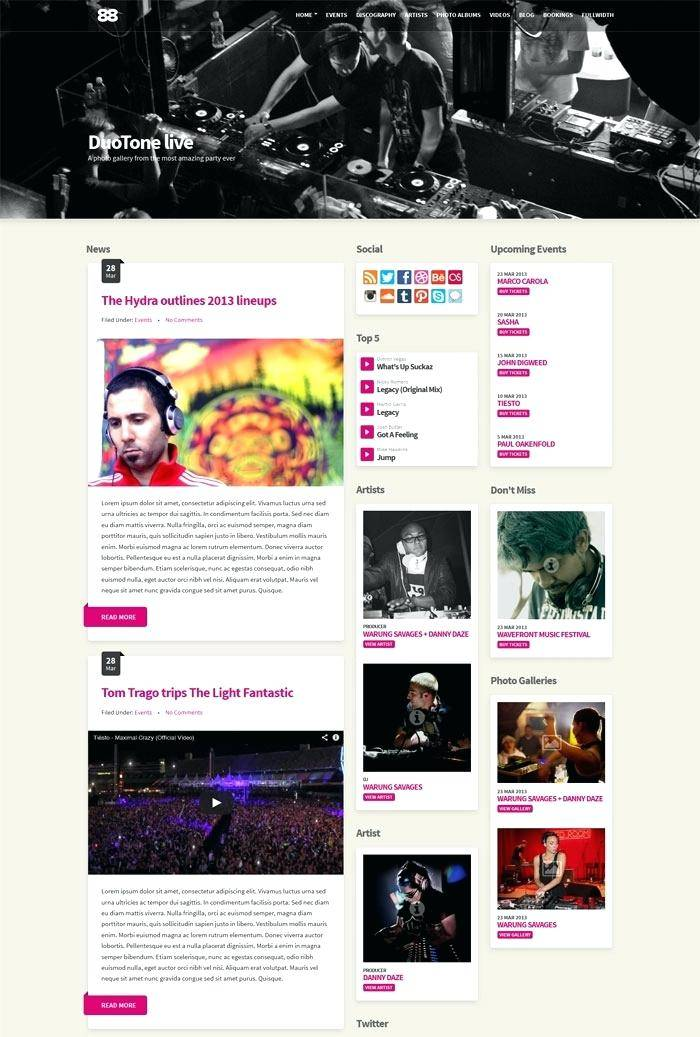 Music Streaming WordPress Templates
