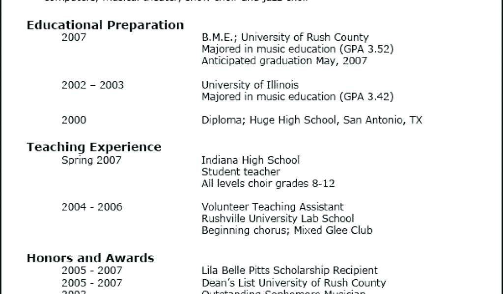 Musical Theatre Resume Template Free
