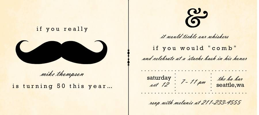 Mustache Bash Invitation Templates