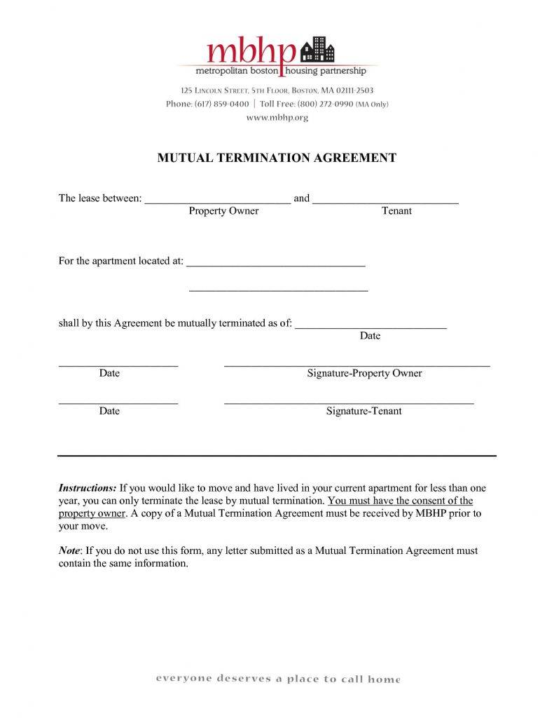 Mutual Contract Termination Template