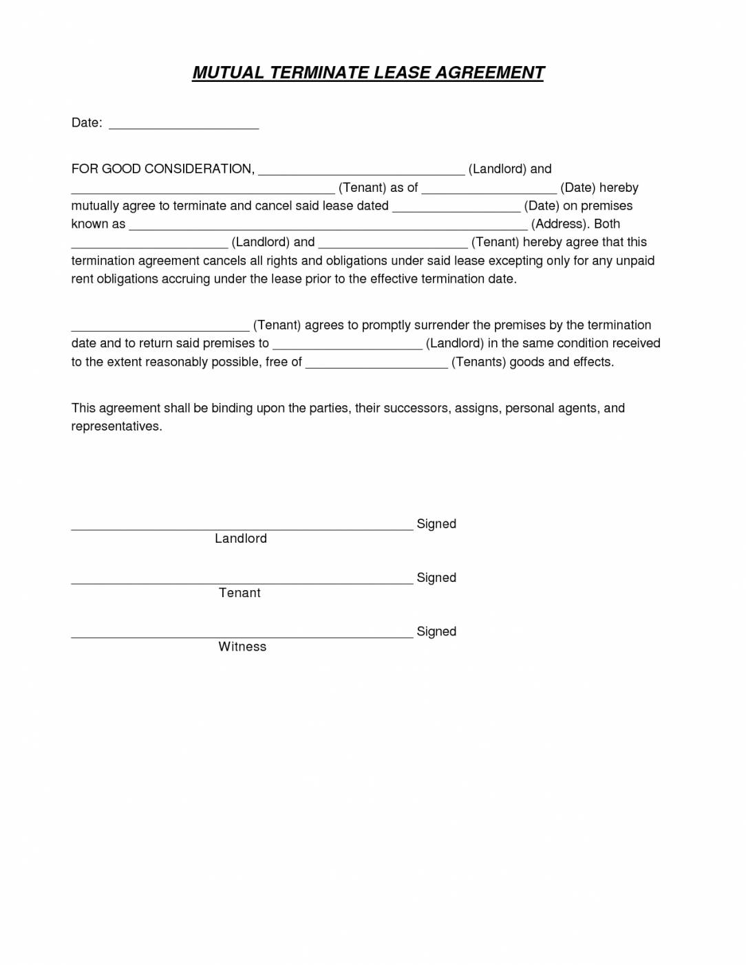 Mutual Termination Of Lease Agreement Template