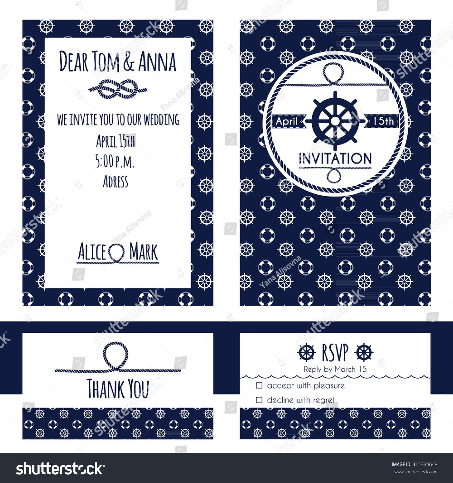Nautical Wedding Invitation Template Free