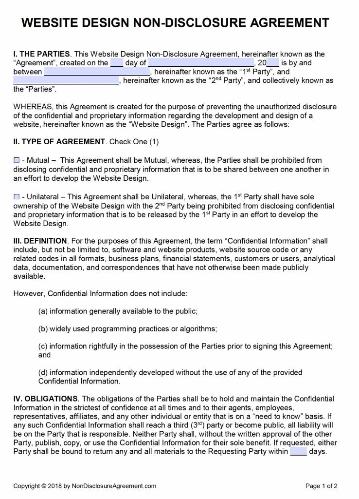 Nda Non Disclosure Agreement Template