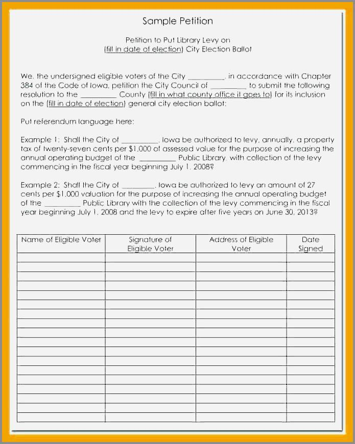 Neighborhood Petition Example